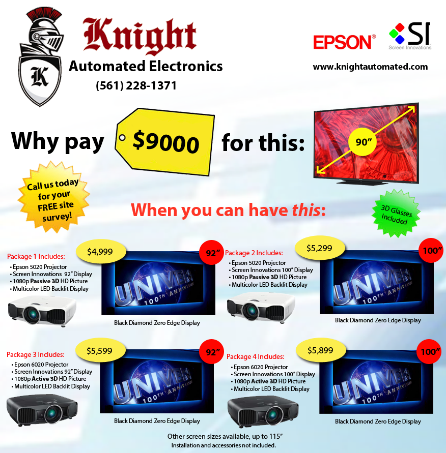 Knight Automated Electronics presents: Epson Projectors with Screen Innovations Black Diamond Display.